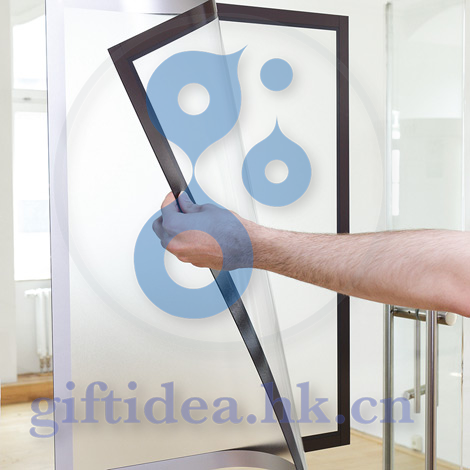 Double side Window Sign Holder with Magnetic Lens, Self-Adhesive - Black, remove and reposition able