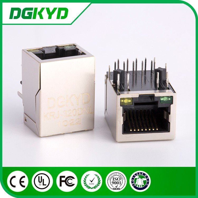 Single port 90 degree 10P8C with internal transformer 1000 BASE-TX RJ45 Connector