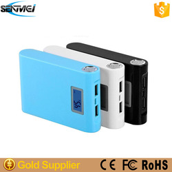 8800mah Mobile power supply with LED flashlight and LCD showing power left