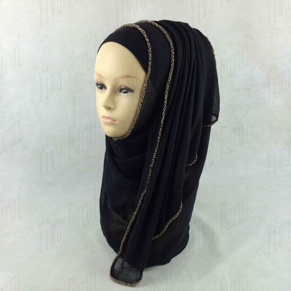 Wholesale gold chain zipper scarf hijab cotton arab muslim women's shawl hijabs