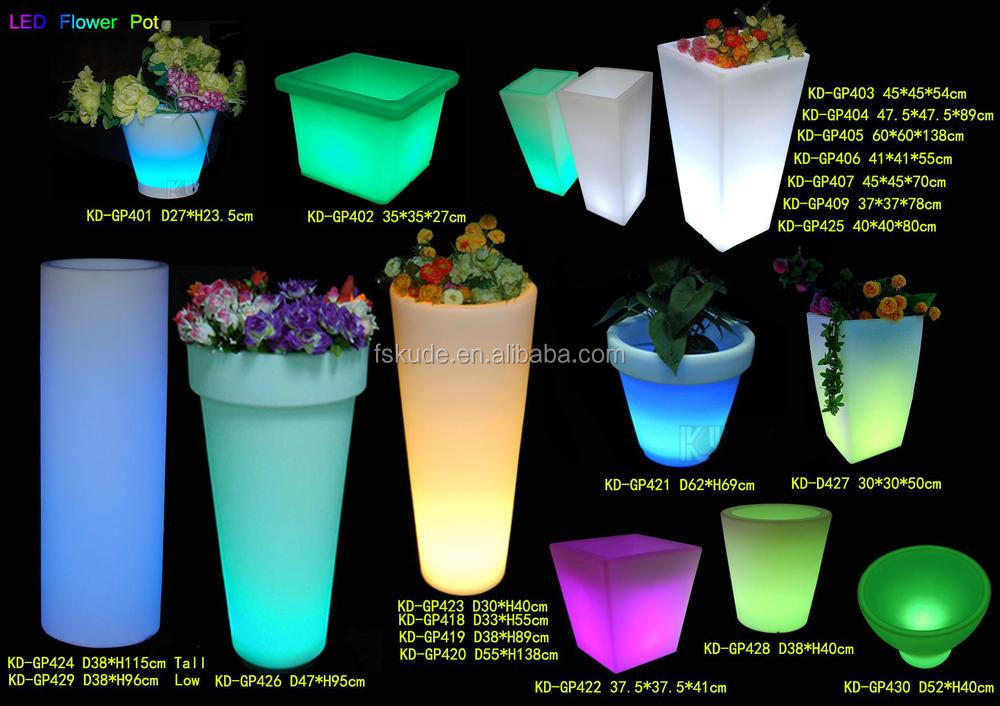 smart plastic led light flower pot for nightclub