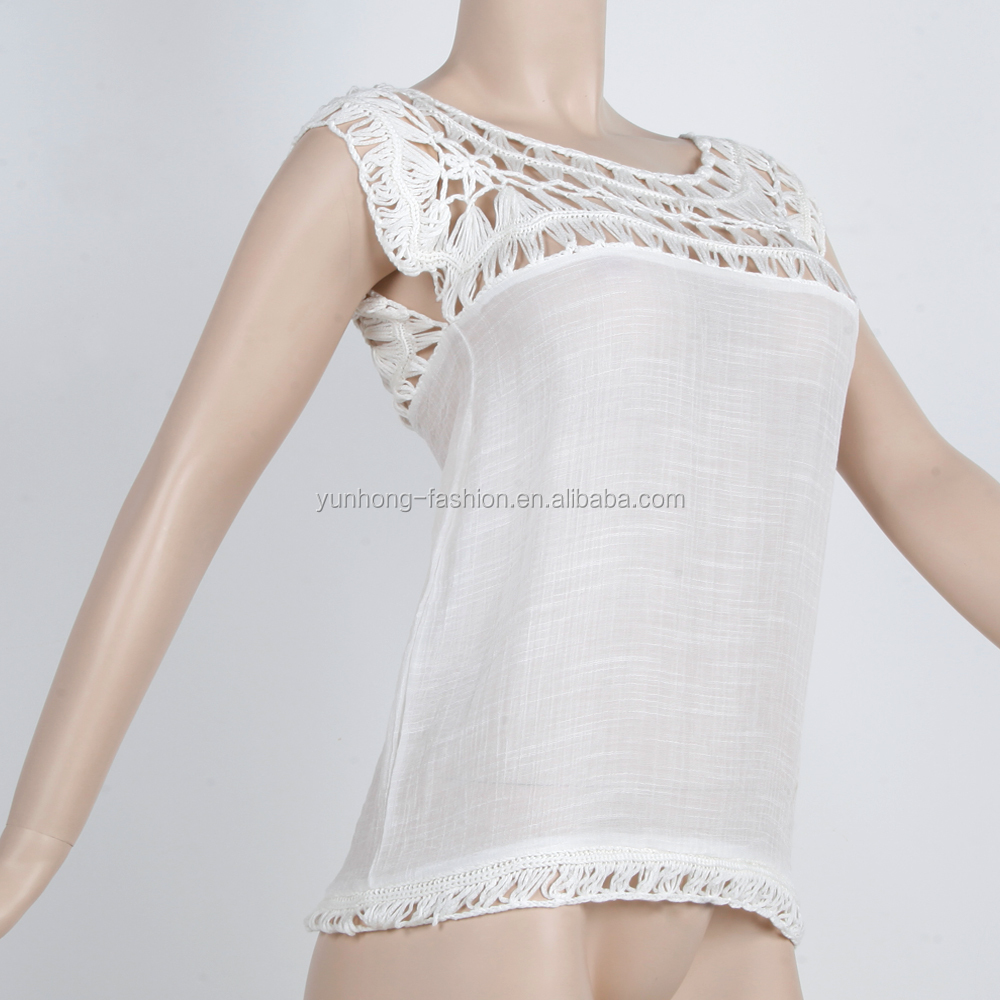 2018 elegant women hand crochet with woven sleeveless pullover top