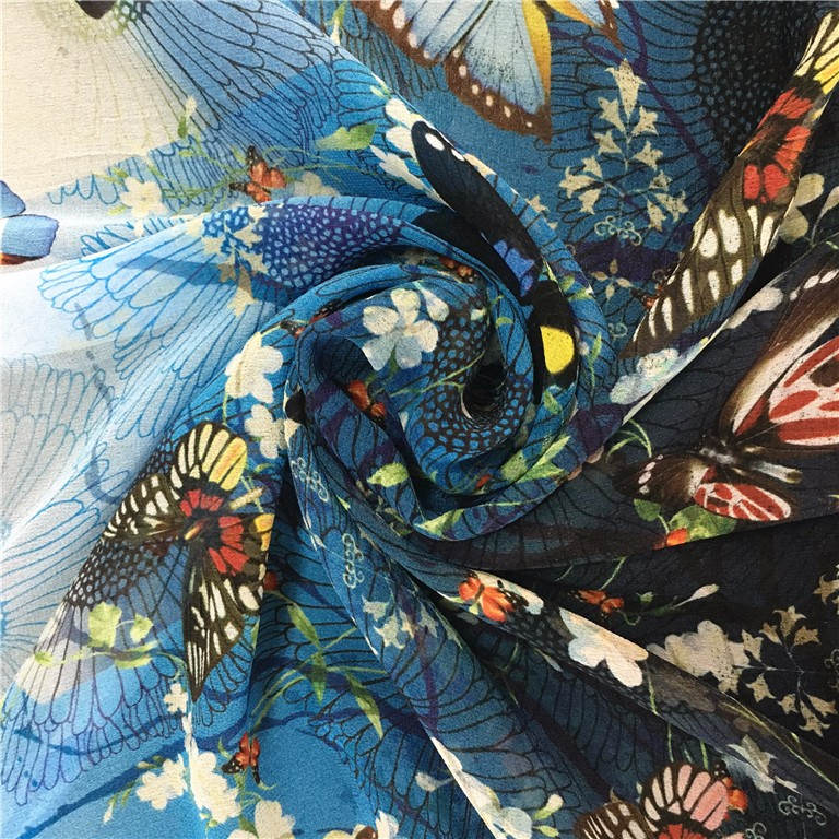 Factory Direct Digital Design Custom Printed Chiffon Fabric