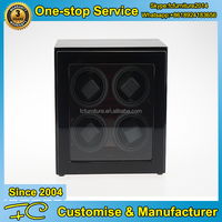 Luxury watch winder for 4 watches in Ebony finish with LED light