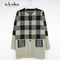 Tartan Pattern Knit Cardigan Sweater With