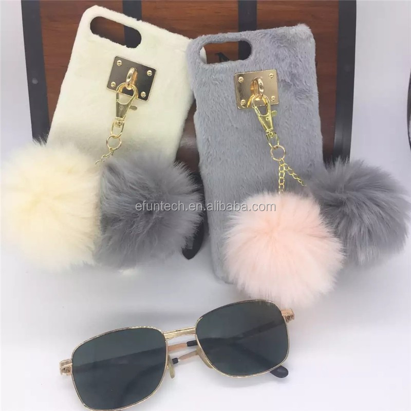 Clearance sale low price girl use winter plush phone case for iphone 7 7plus case
