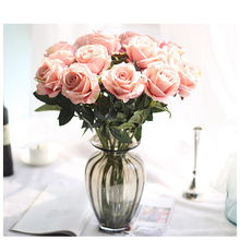 Wedding Home Decorative Handmade Single Artificial Silk Rose Flower for Wedding Fake Flower Centerpiece