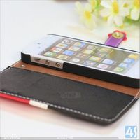 Hot selling colors PU wallet purse cover protection leather mobile phone case for iphone 5 5S cell phone accessories