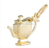China supplier alloy gold plated teapot charm