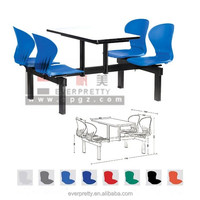 Used school furniture canteen plastic hideaway dining table and chair set