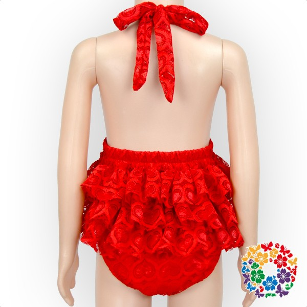 Little Girl Model Top 100 Cotton Red Baby Halter Romper Girl Lace Ruffle Romper