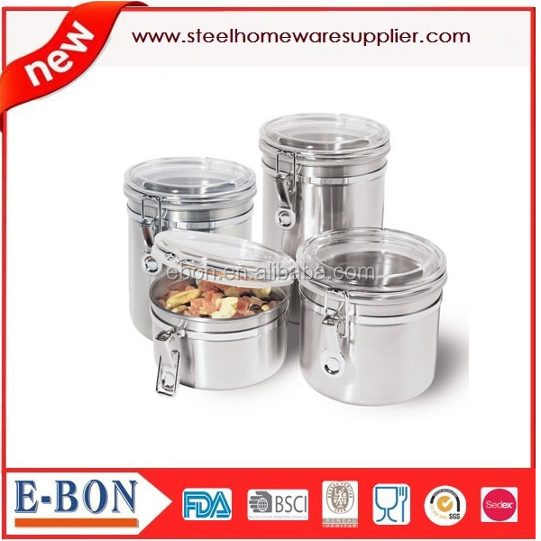 Stainless Steel Kitchen Airtight Canister Set With Clear Acrylic Lid And Locking Clamp