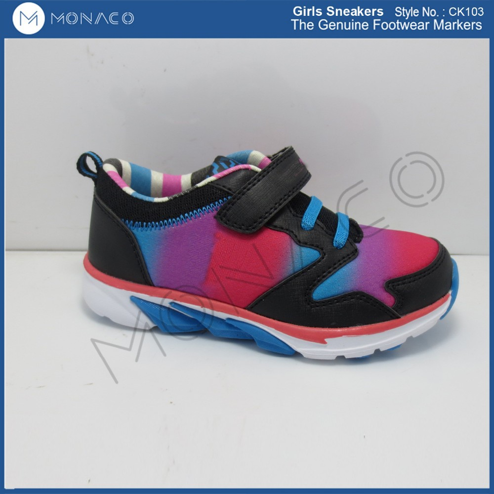 new design girls fading mesh sport shoes, girls colorful sneaker footwear with elastic gore