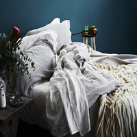 100% French linen duvet cover set, Stone washed linen bed sheets