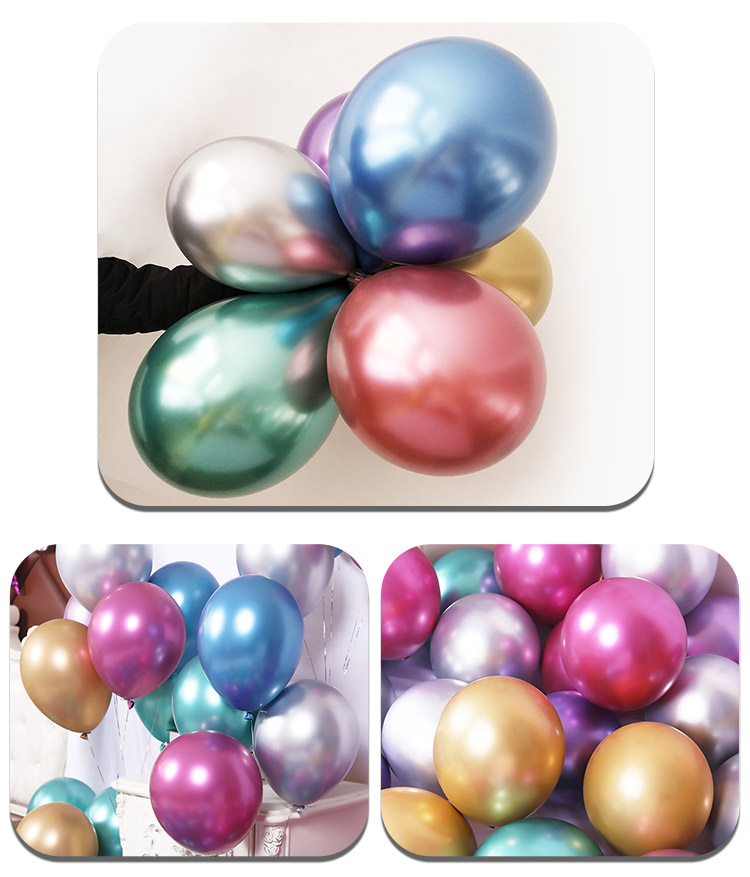 10/12inch customize OEM Glossy Metal Pearl Latex Balloons Thick Chrome Metallic Colors Inflatable  Balls  Birthday Party Decor