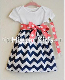 Wholesale kids cotton frocks design chevron baby boutique style clothing custom made infant dress girls dress