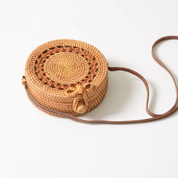 Summer Handmade woven Crossbody Beach Straw Bag Bali Natural Bamboo Round Messenger Rattan bag