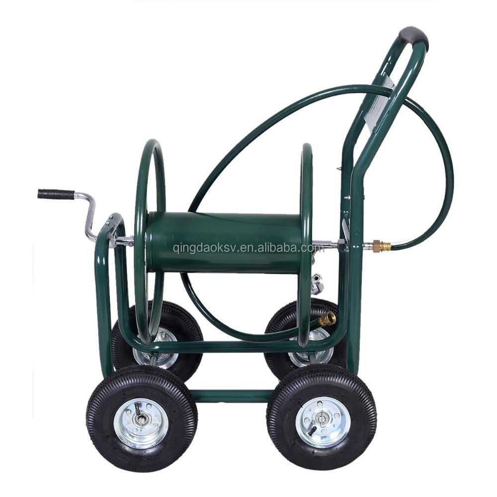 Metal Four Wheel Garden Hose Reel Cart,Tool Cart,Garden Hose Reel Cart