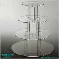 Round / Square Cake Stand Acrylic 4 Tiers Display Rack