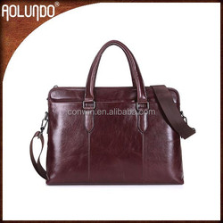 Ladies business genuine leather file tote bag