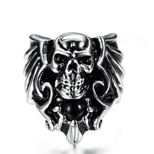 New fashion design wholesale fine jewelry punk style masonic men's skull ring setting