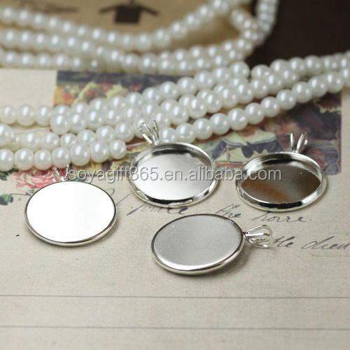 10-20mm V Shape Connector Silver Plated Round Cameo Cabochon Base Setting Blank Pendant Tray For Jewelry Diy