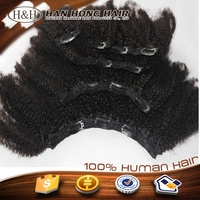 2015 Sell well the best quality mongolian afro kinky curly clip in hair extension on stock