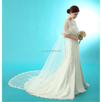 New coming long design bridal wedding dress jacket see through summer wraps for wedding dress