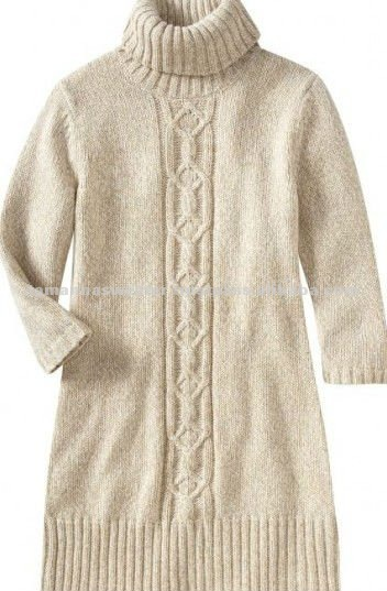Ladies Cable Design Hi-neck Sweater Dress