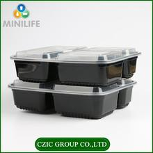 Pp Heat Resistant Biodegradable Meal Prep Lunch Black Rectangular Plastic Microwavable Disposable Food Container
