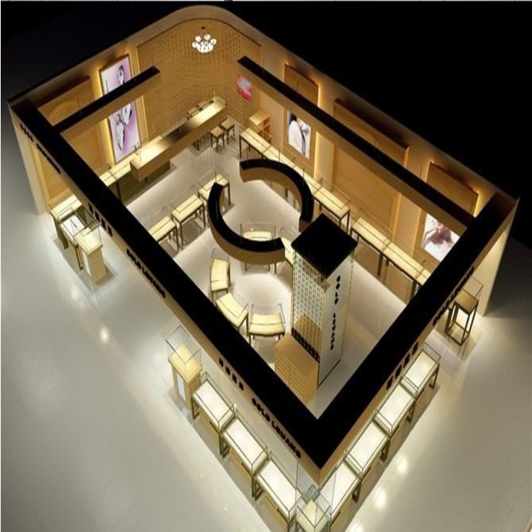 Luxury showroom designs jewelry kiosk for sale gold jewelry display kiosk store interior design with led lighted