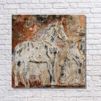 Abstract animal running horse oil painting handmade chinese horse painting