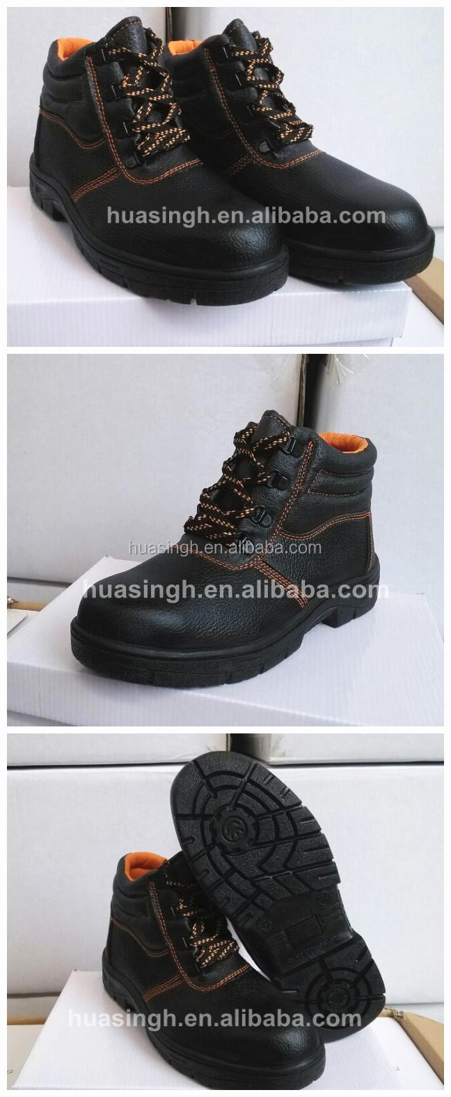 heavy construction earthworks anti-hit labor safety shoes with steel toe cap