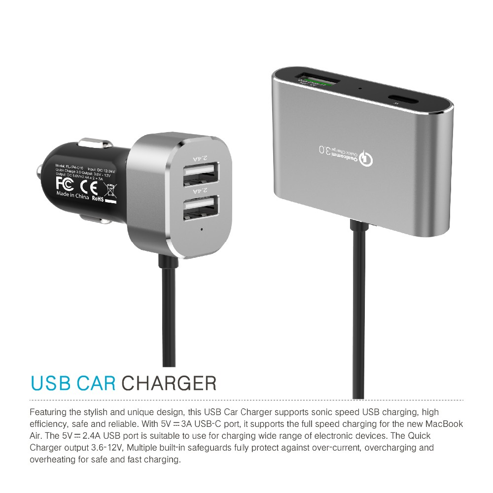 iFans 4 USB car charger with 1.5 M Extended Charging Port equipped with type-c & Quick charge 3.0 port for backseat