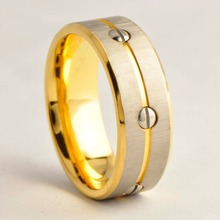 Top Sale 18k Gold Plated Titanium Or 316L Steel Wedding Bands Inlay Screw