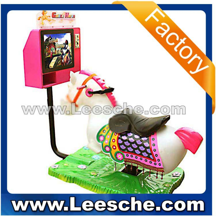 LSJQ-052 new kids 3D golden horse Video kiddy rider coin operated kiddie ride amusement machine for shooping centers