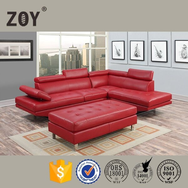 Zoy-97820 red sofa set designs modern l shape corner sofa