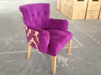 Cafe shop purple velvet fabric upholstered armrest tub dining chairs