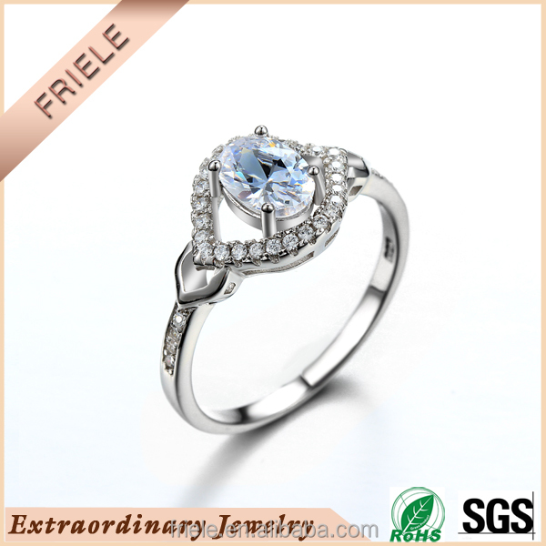 Fashion white wedding anniversary 925 sterling silver Rings with cz price per gram Chinese Factory