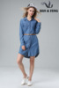 Elegant ladies stand up collar embroidery pleat flare loose blue long denim dress and jeans shirt dress coat for woman