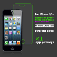 Hot sell 0.4mm Ultra Thin HD Clear Explosion with proof Tempered Glass Screen Protector for iPhone 5 5s tempered glass film