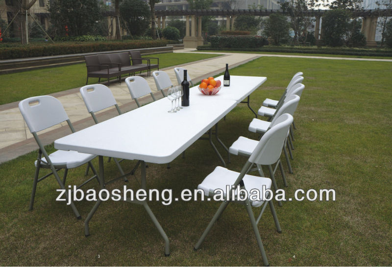 2016 new design new style modern 8FT outdoor plastic pinic folding table and chair blow mold folding table for wedding,dinner