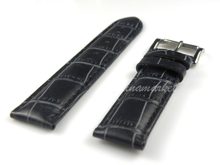 22mm  Genuine Leather Watch Band New High Quality Black Crocodile Grain Genuine Leather Watch Band Strap  Watch accessories