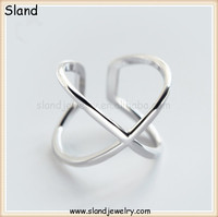 Amazon & Etsy hot sale jewelry large size 925 silver X shape ring - Korean Minimalist finger rings adjustable