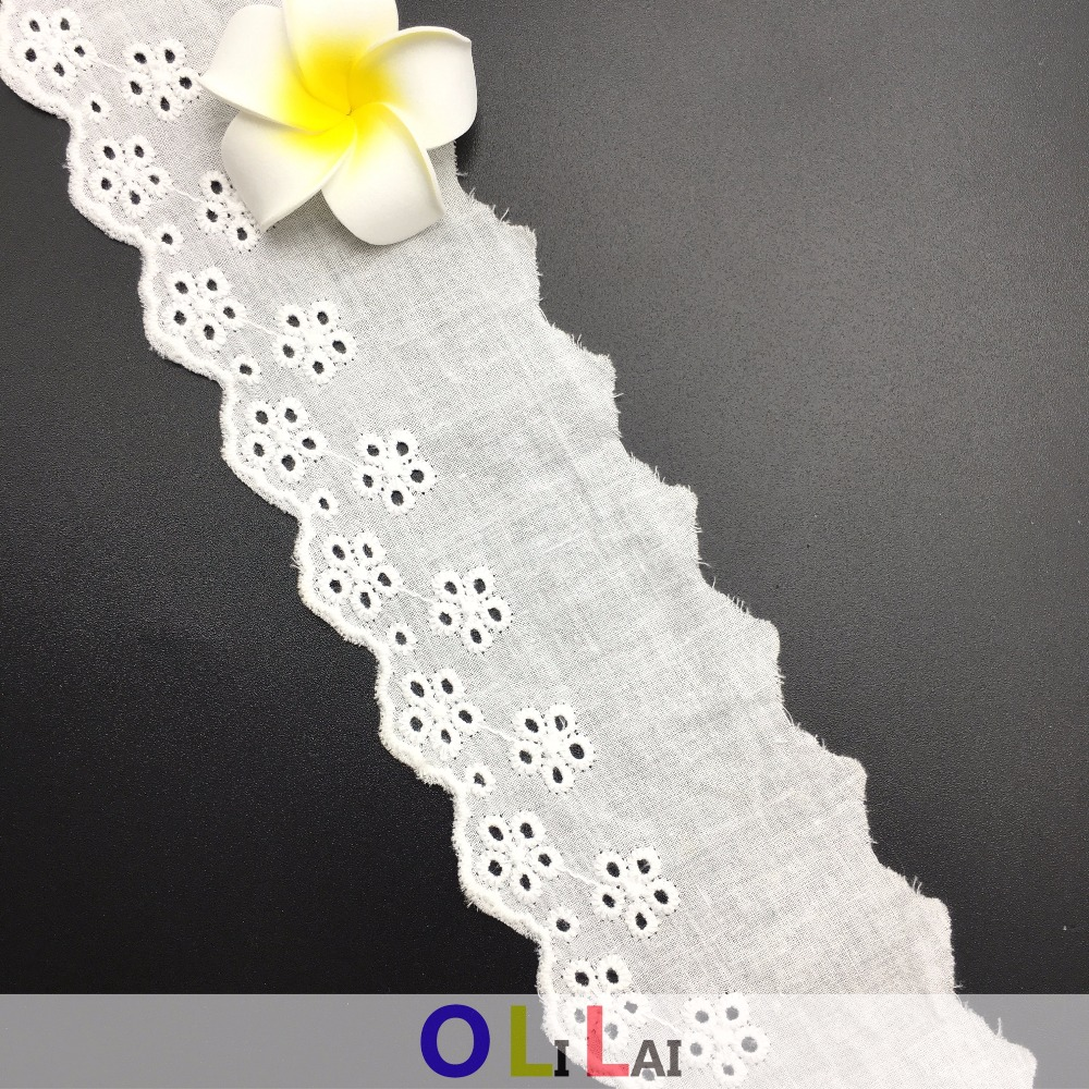 OLT 0310 cotton 6cm bazin getzner white indian lace trim