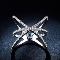 LSR237 Factory High quality White Gold plated rings Platinum filled Star luxury AA cz Diamond women wedding Party Silver Ring