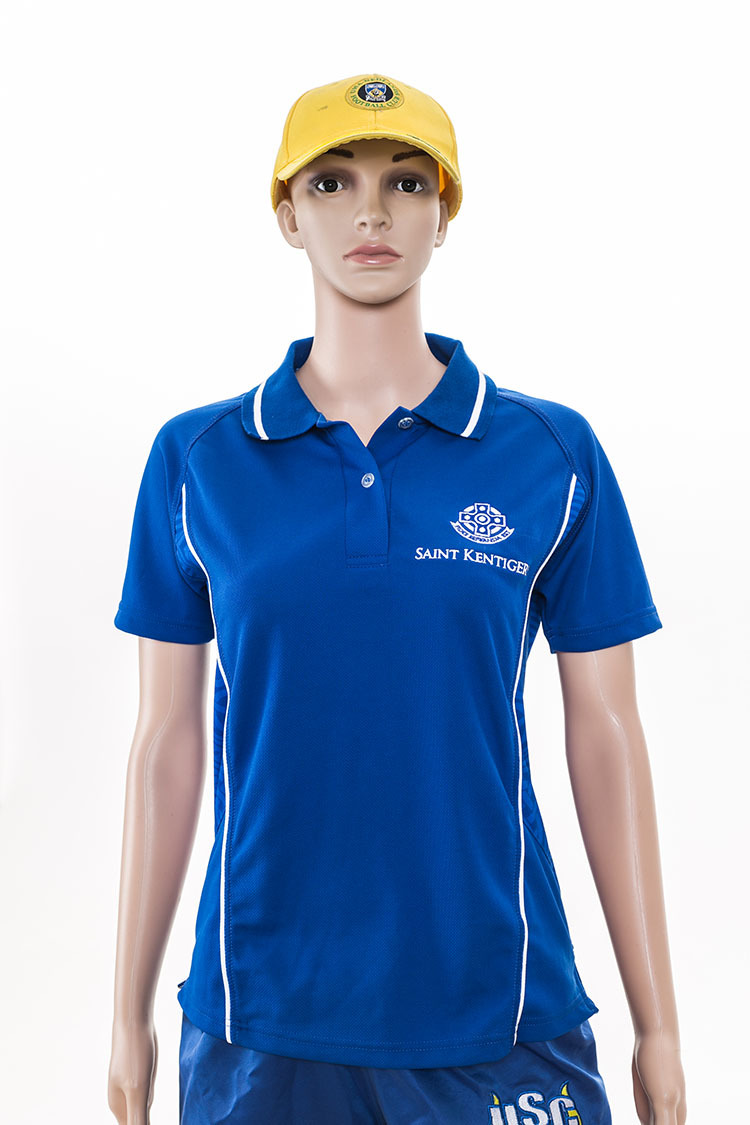 Customized Logo Blue Racing Women Polo Shirt With Embroidery