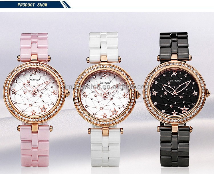 roles gold case crystal dial butterfly buckle dress ceramic ladies watches