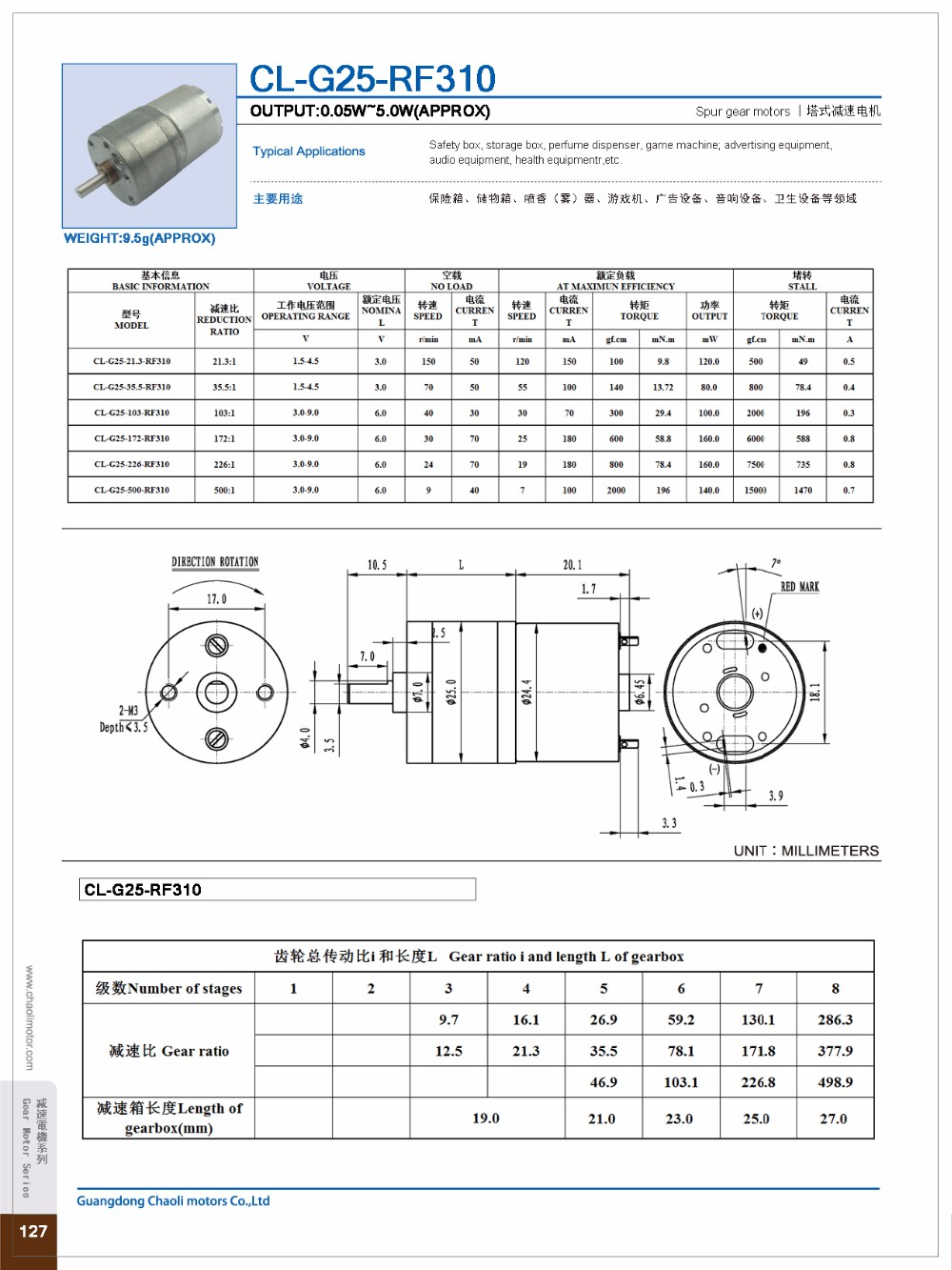 Low Noise Low Vibration Gear Reducer Motor CL-G25-RF310 For Perfume Dispenser And BBQ Grill