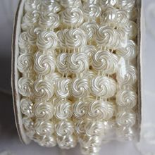 10 yard/roll 11MM Plastic Ivory fower pearl bead trimming for Wedding dress hairbands